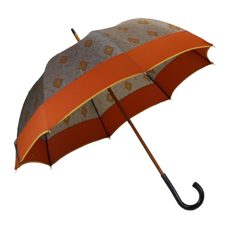 Parapluie long gris marbre motifs losanges orange