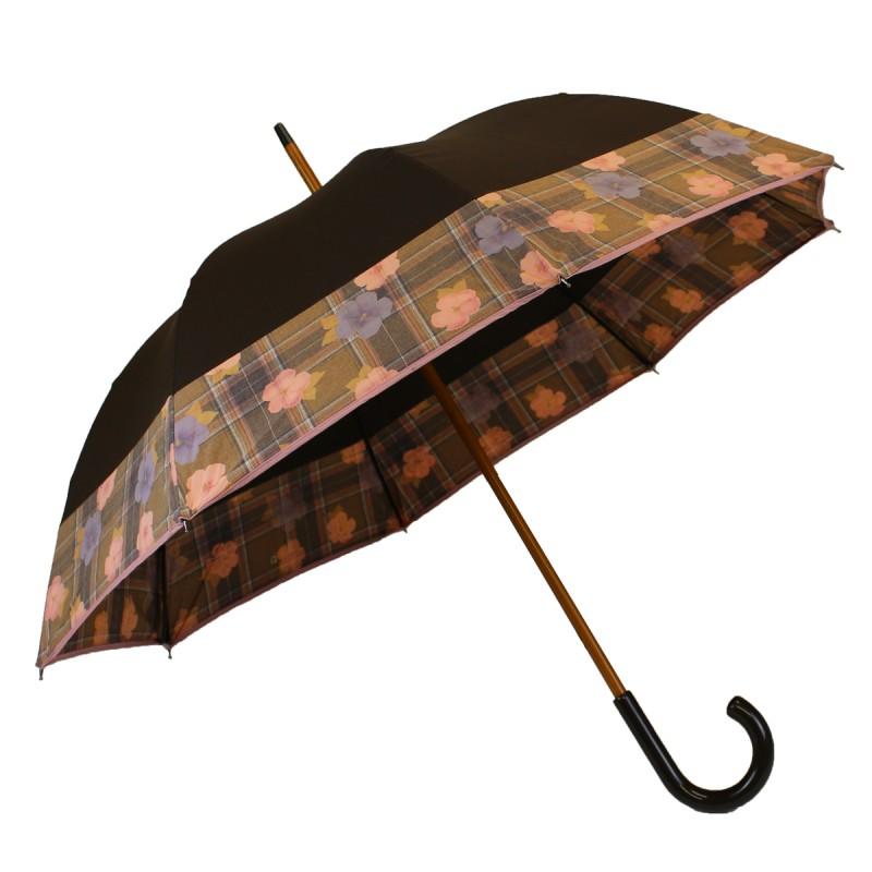 Mittelbrauner Regenschirm mit floralem Band