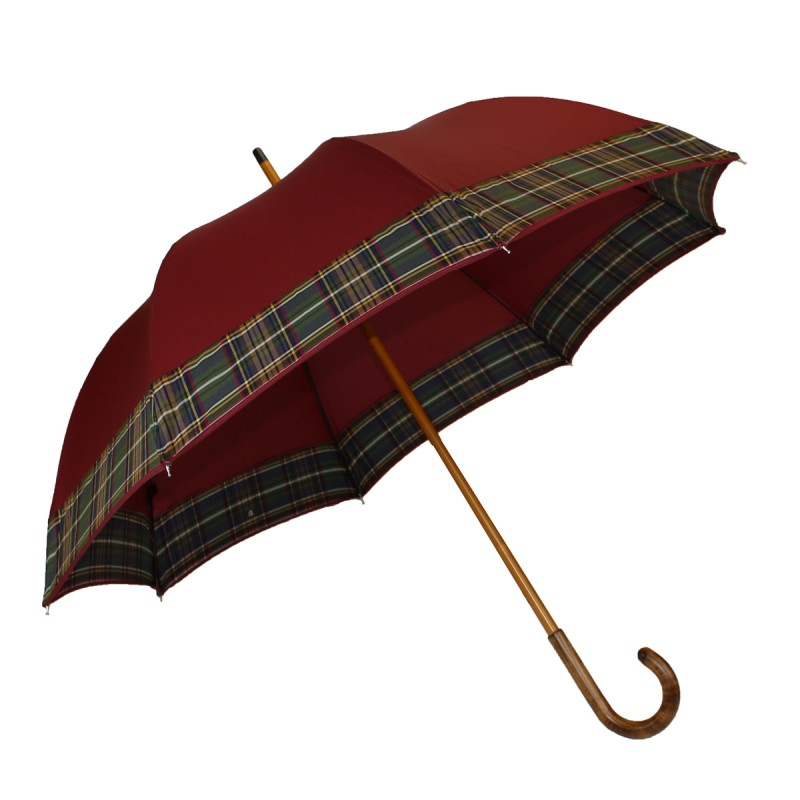 Bordeaux half golf umbrella with tartan stripe