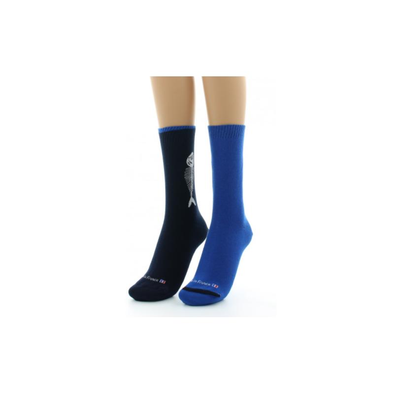 Reversible Dagobert-Socke mit sardinenblauer Innenseite nach außen