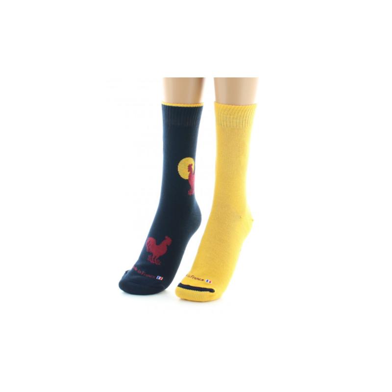 Reversible Dagobert-Socke mit hahngelbem Aufschlag