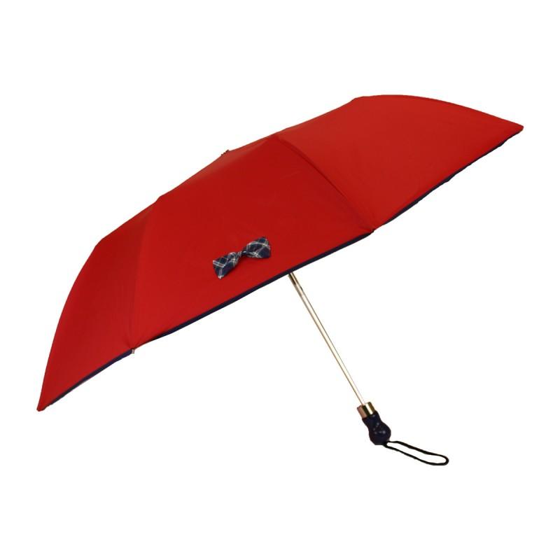 Red folding umbrella small blue tartan bow