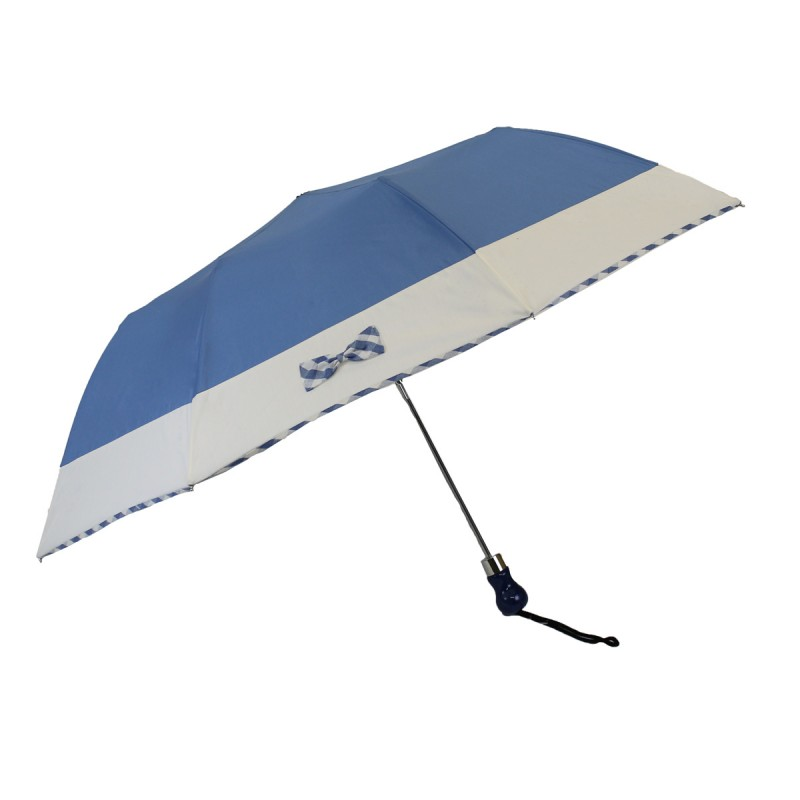 Blue folding umbrella with white stripe and small plaid bow