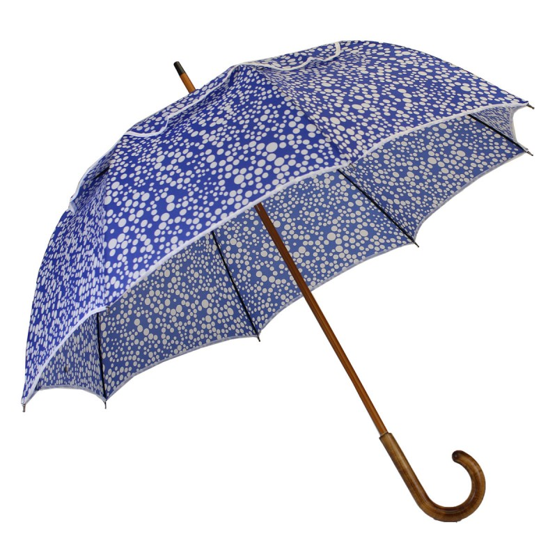 Blauer Passvent-Regenschirm mit weißen Tupfen