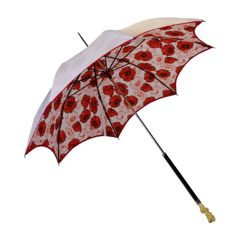 Anti-UV white umbrella with poppy lining