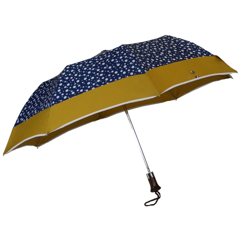 Folding umbrella blue with dots and mustard stripe