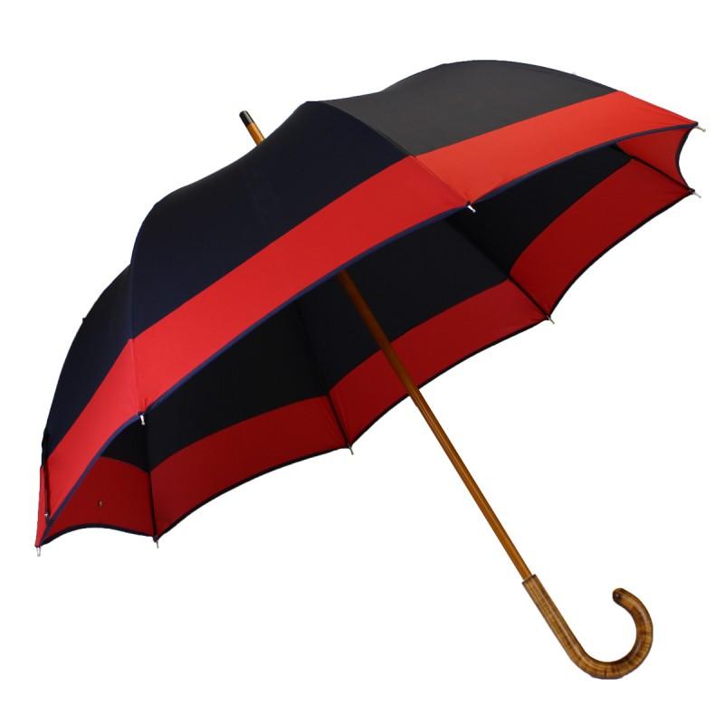 Half golf umbrella navy blue with red stripe