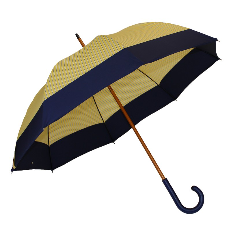 Yellow striped umbrella with blue band