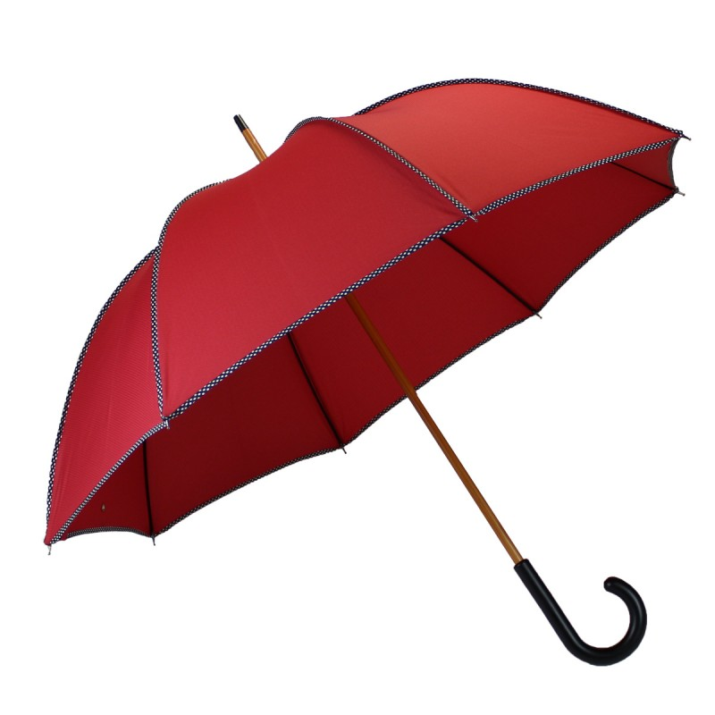 Elegant red and black long umbrella with dots