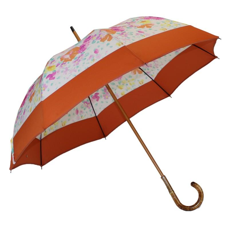 Long floral umbrella with orange band
