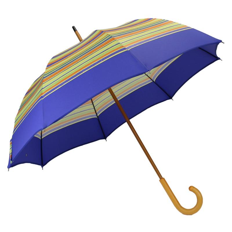 Long bayadère umbrella green stripe blue