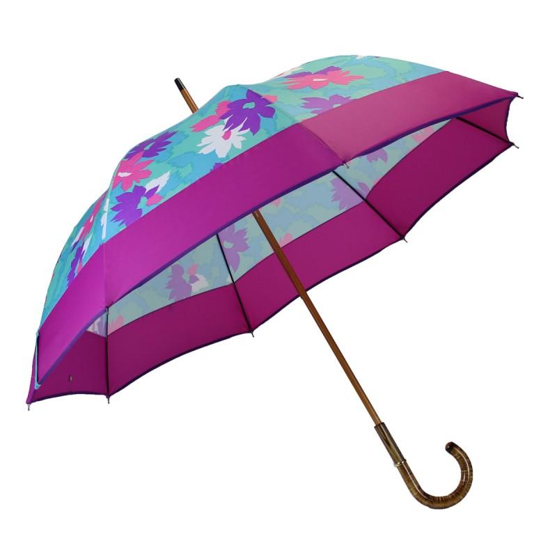 Long umbrella turquoise flowers flashy pink band