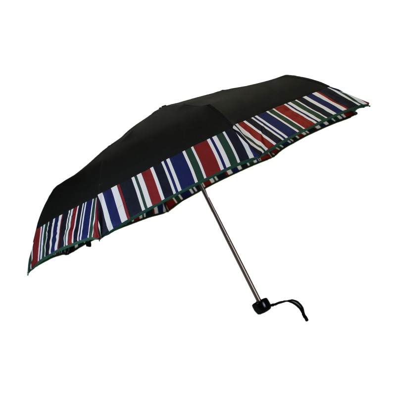 Mini black umbrella with coloured bands