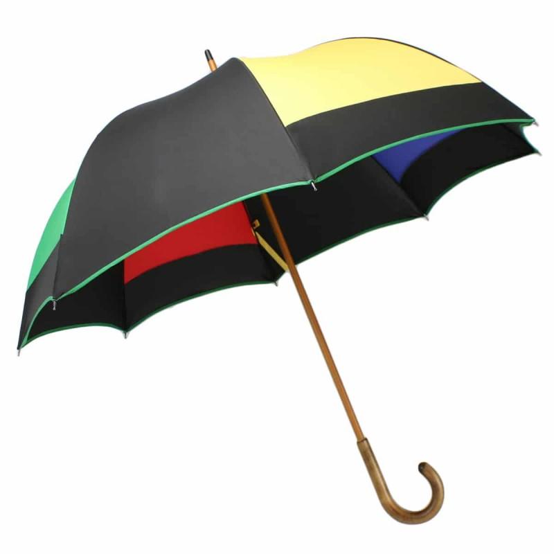 Half golf umbrella mill black and multicoloured