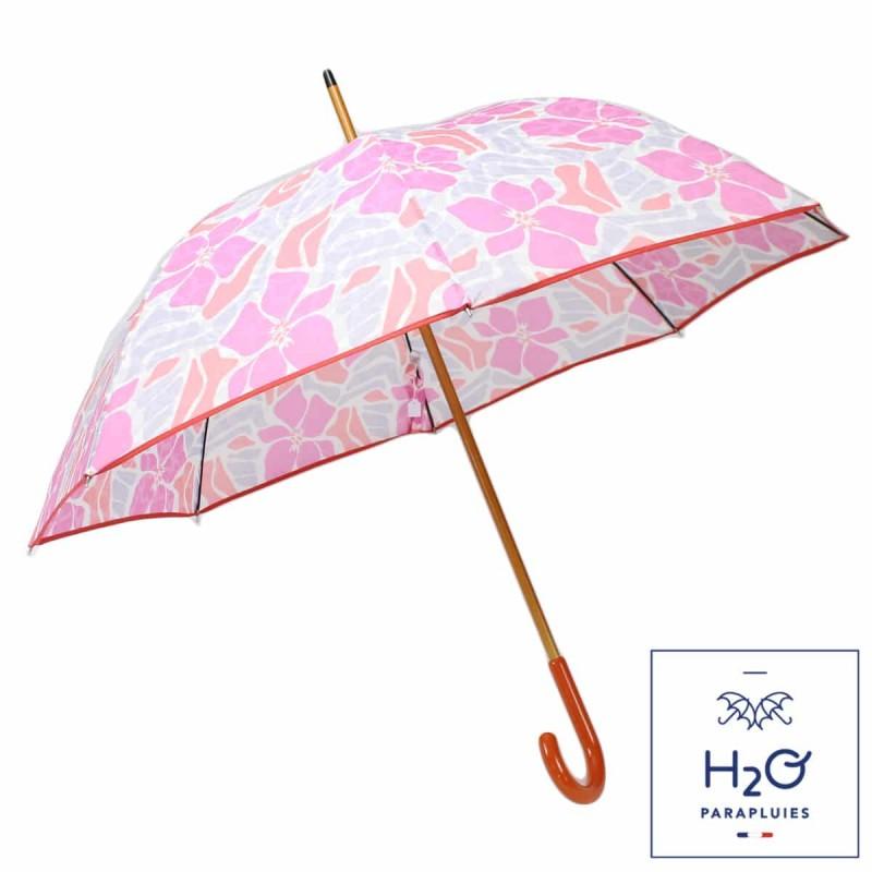 Parapluie long fleurs d'hibiscus roses