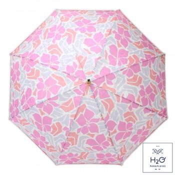 Parapluie Imprimé fleurs d'hibiscus roses long