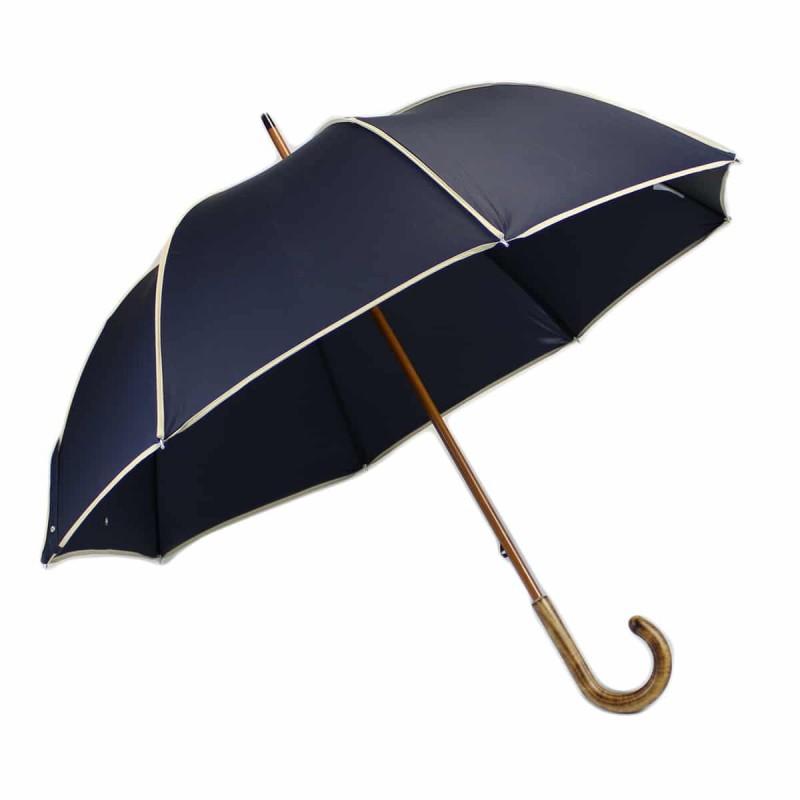 Parapluie long élégant bleu marine et beige