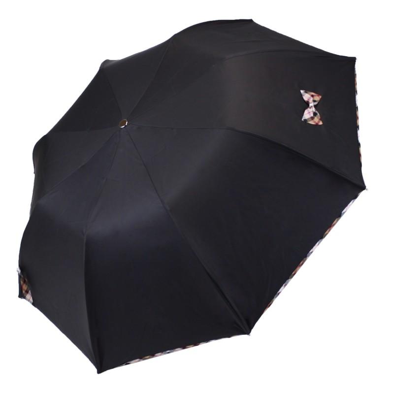 Parapluie Petit Noeud noir et écossais beige pliant automatique