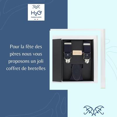 🌸Fête des pères🌸  ⏱Il ne vous reste plus que 12 jours avant la fête des pères.  Aujourd'hui nous vous proposons d'offrir un coffret de bretelles 🇫🇷 à votre papa.   👉Vous pouvez les retrouver sur notre site internet ou en boutique afin de choisir le modèle que vous souhaitez.  #fetedesperes #cadeau #madeinfrance #h2oparapluies #bretelles
